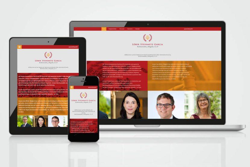responsive Webdesign für die Anwaltskanzlei Löber, Steinmetz, Garcia in Frankfurt