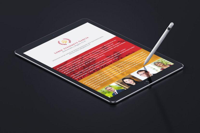 Tablet Ansicht der Website Löber und Steinmetz in Frankfurt